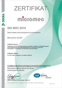 Micromec Zertifikat ISO-9001_2015
